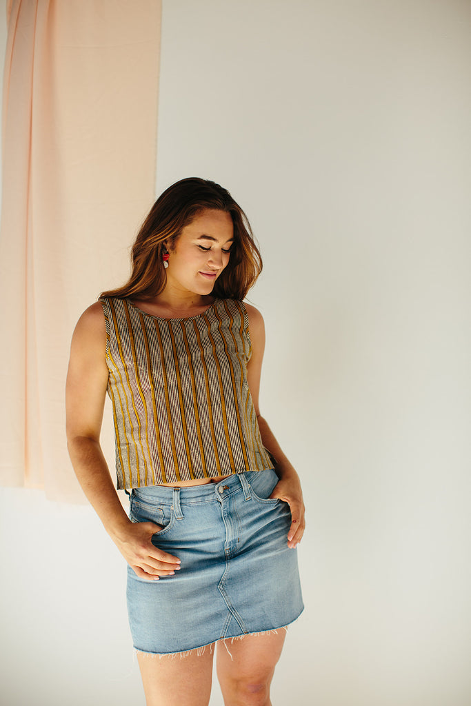 Mustard Blockprint Crop Top