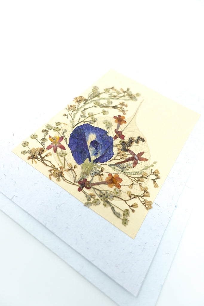 Bodhi Leaf Pressed Flower Card - Natural