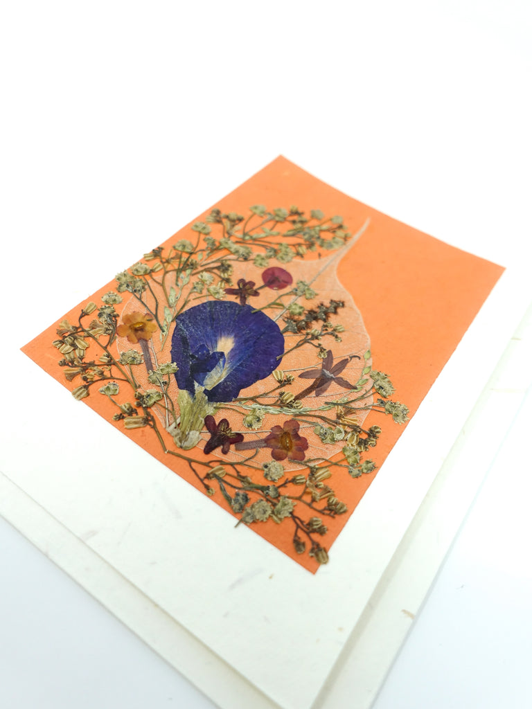Bodhi Leaf Pressed Flower Card - Orangeade