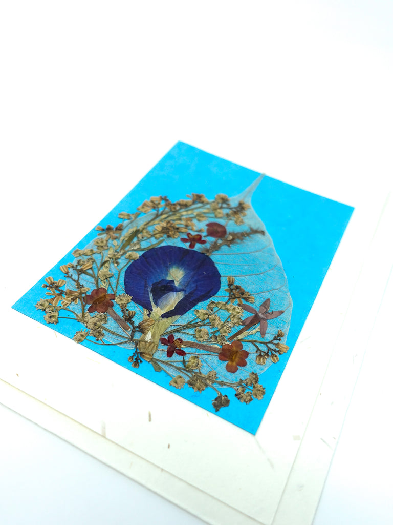 Bodhi Leaf Pressed Flower Card - Blue Jewel