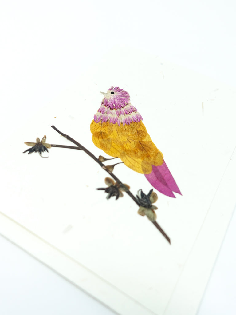 Bird Pressed Flower Card