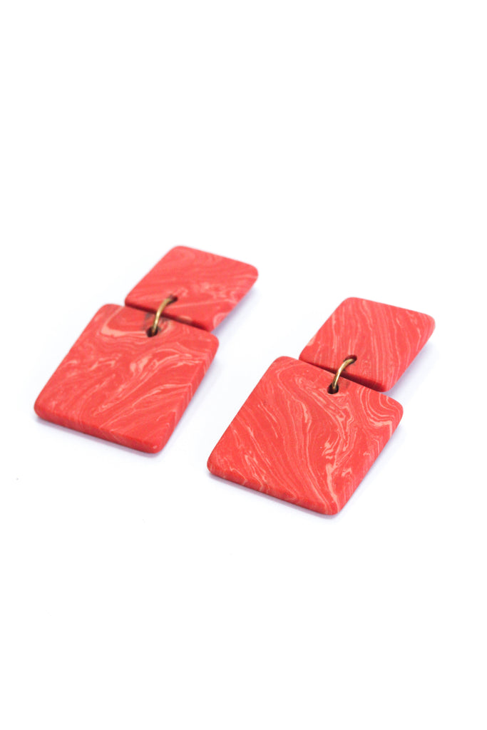 Square Marble Earrings - Red