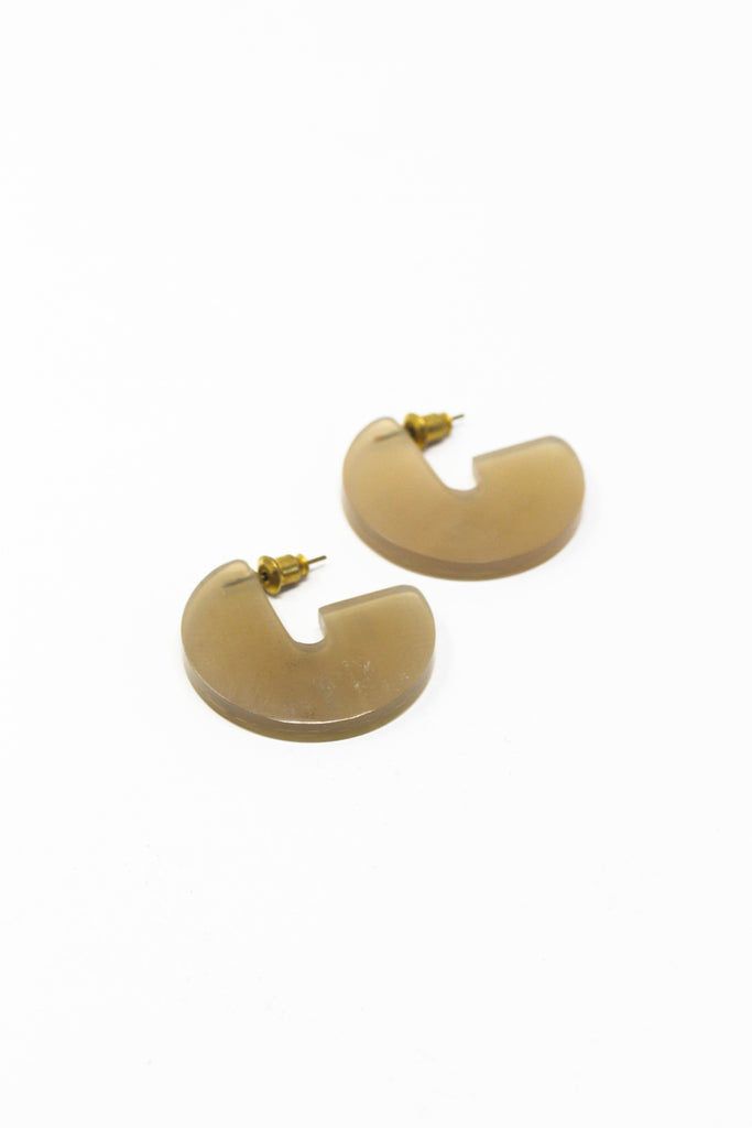 Horn Disc Earrings