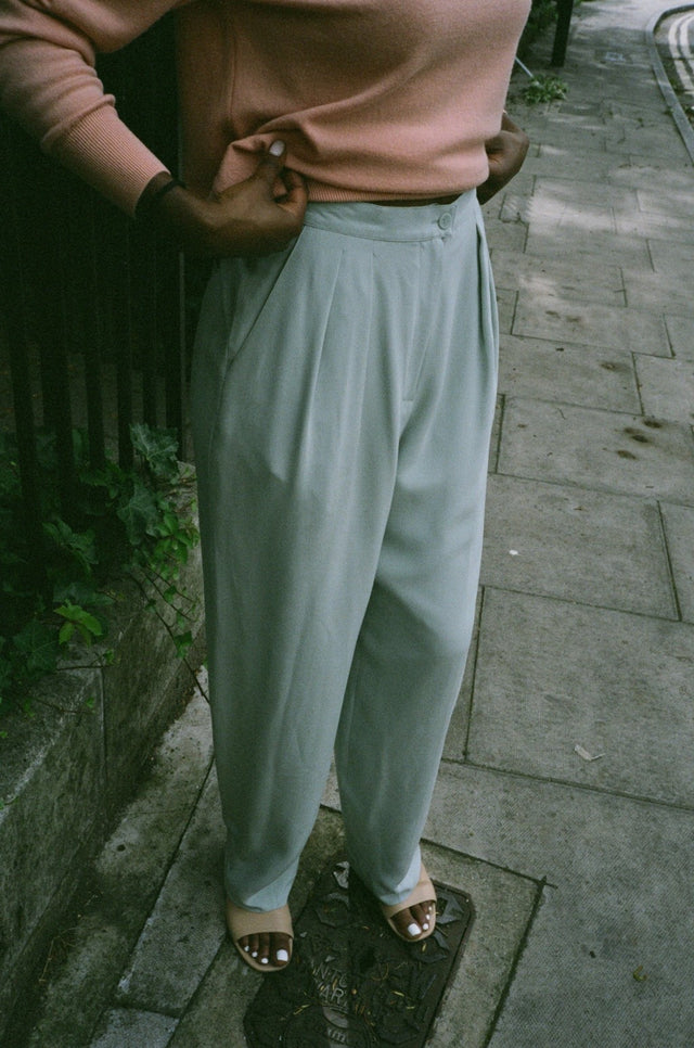 Vintage 90s Pastel Blue Pleated Trousers