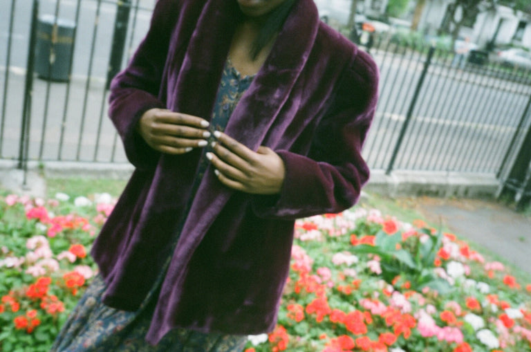 Vintage Purple Faux Fur Coat