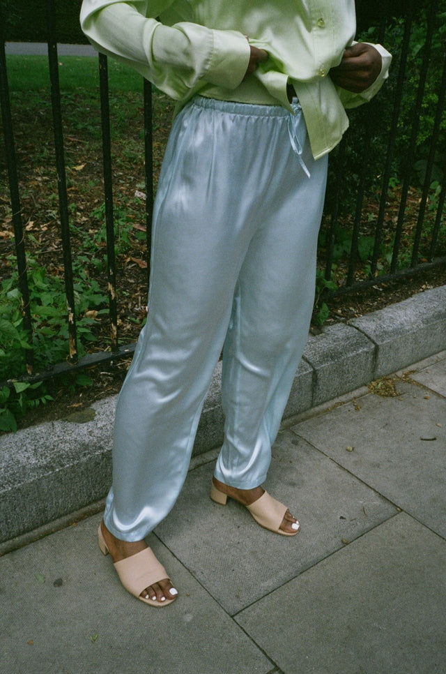 Vintage Satin Blue Relaxed Trousers