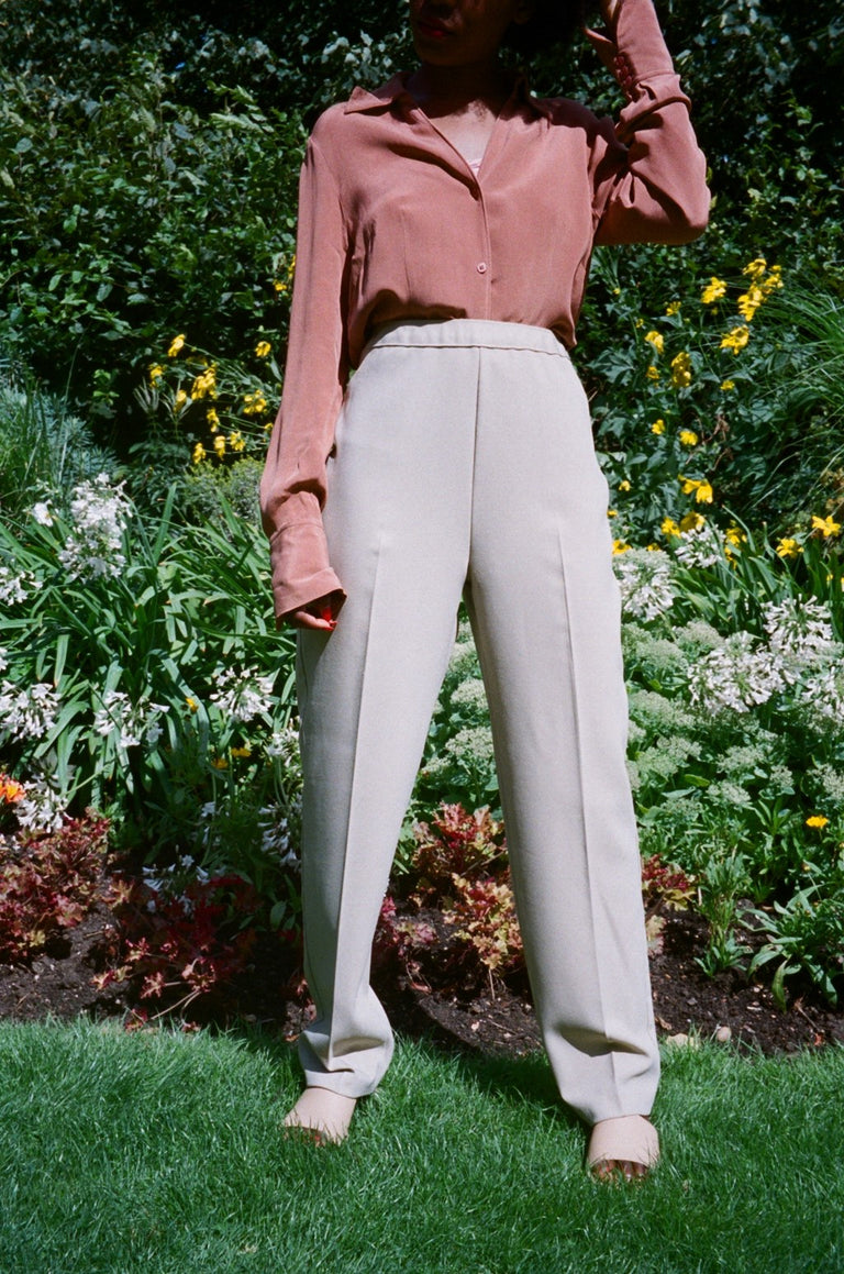 Vintage Beige High Waisted Trousers