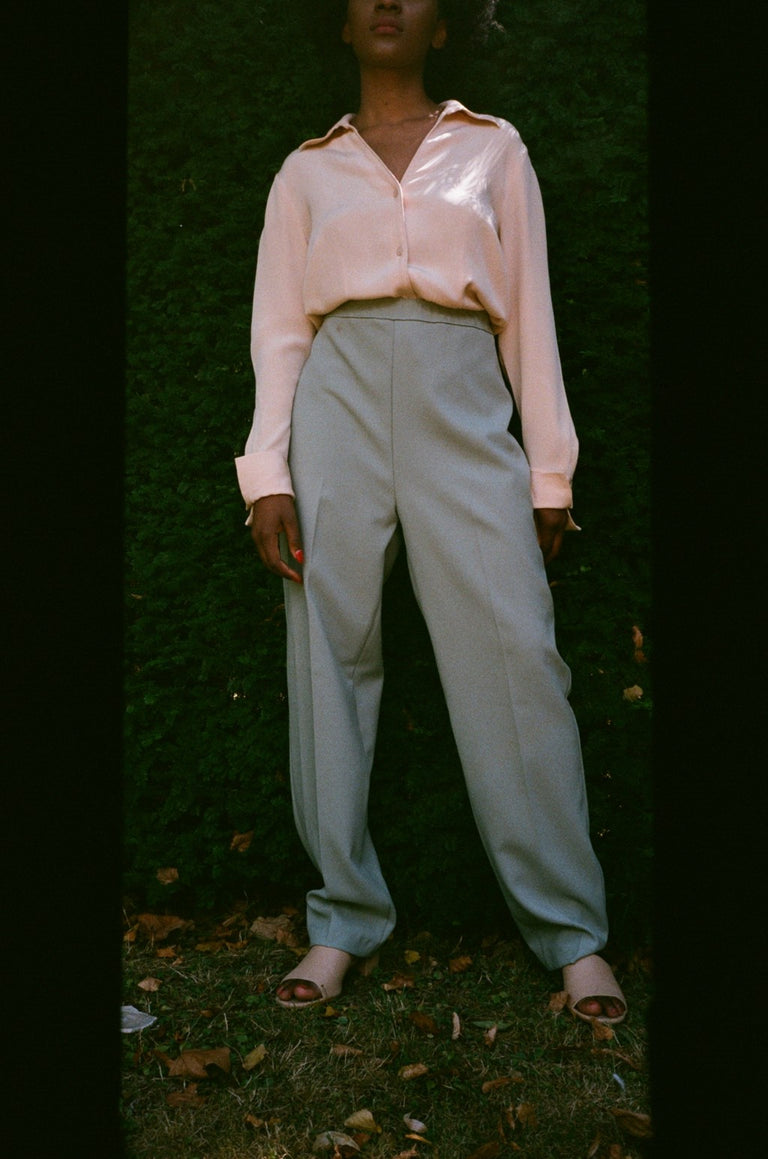 Vintage Pastel Green High Waisted Trousers