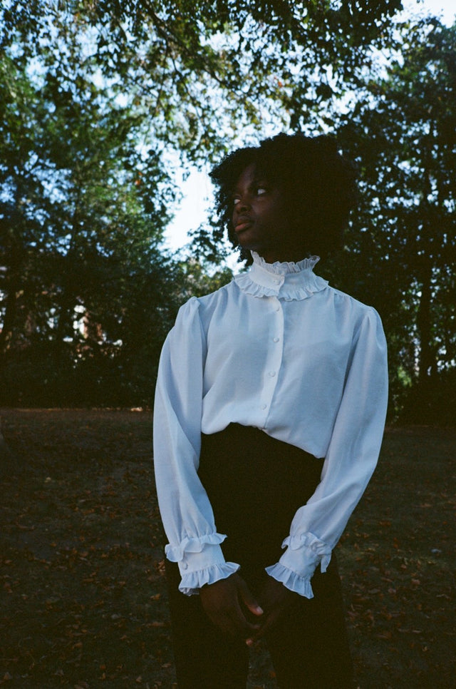 Vintage White Frill Collar Blouse
