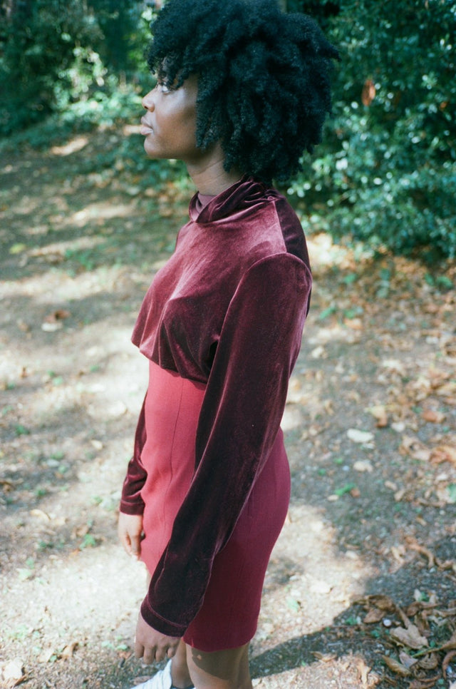 Vintage Red Velvet Turtleneck Top