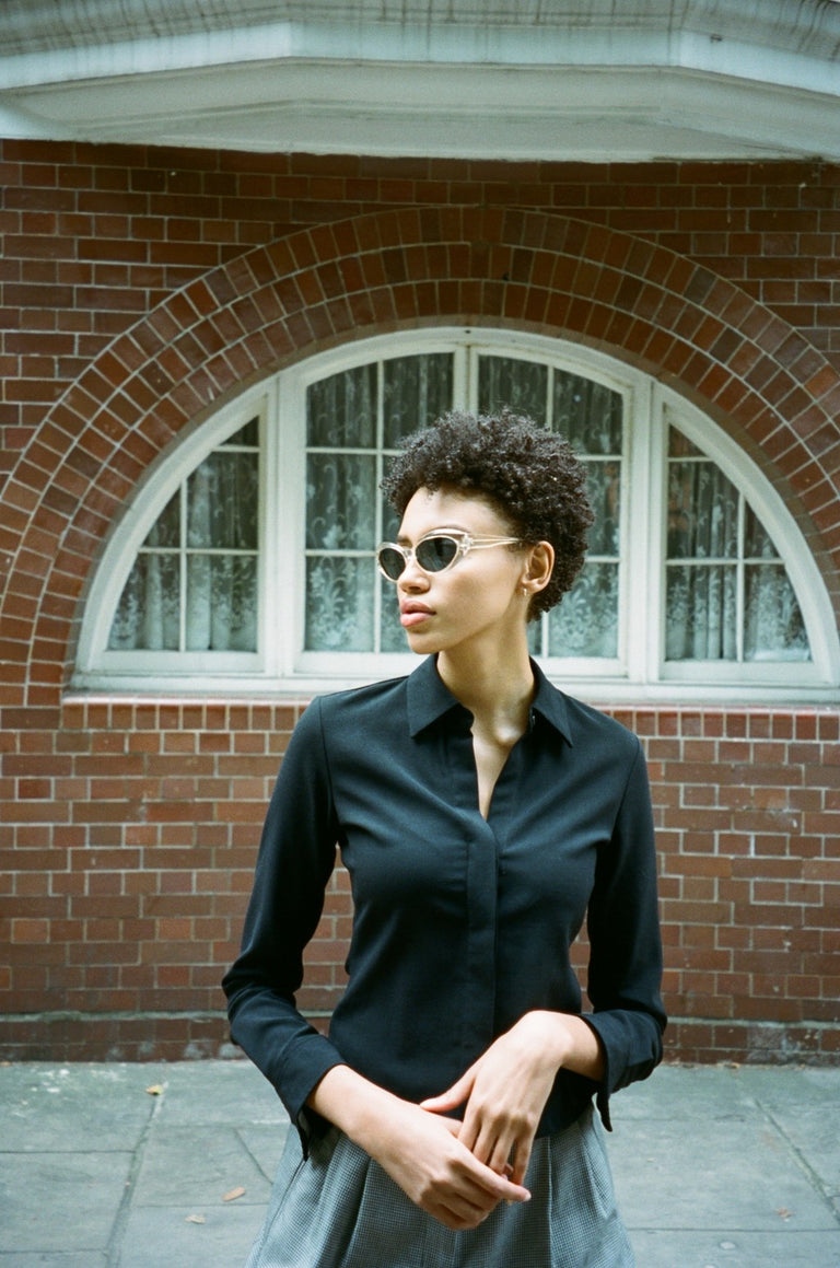 Vintage 90's Theory Black Wool Blend blouse