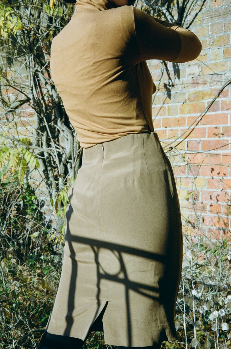 Vintage Khaki Silk Pencil Skirt