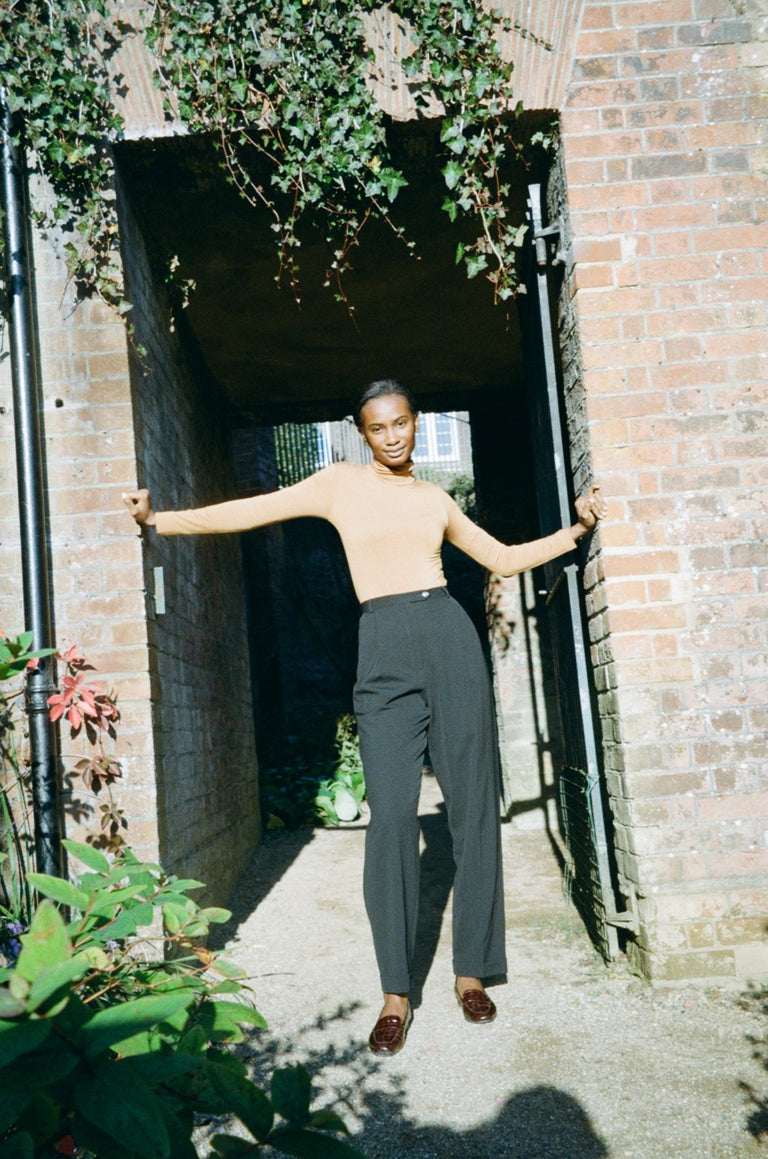 Vintage Black Wool High Waisted Pants