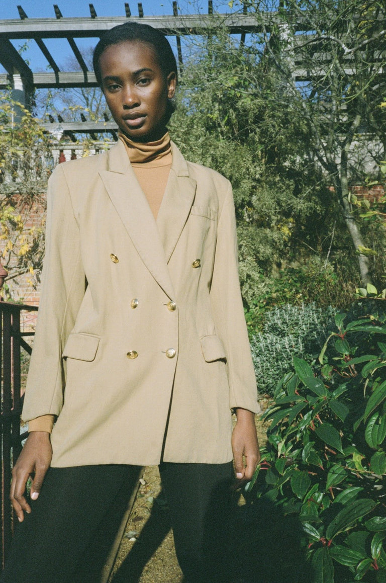 Vintage Olive Double Breasted Blazer