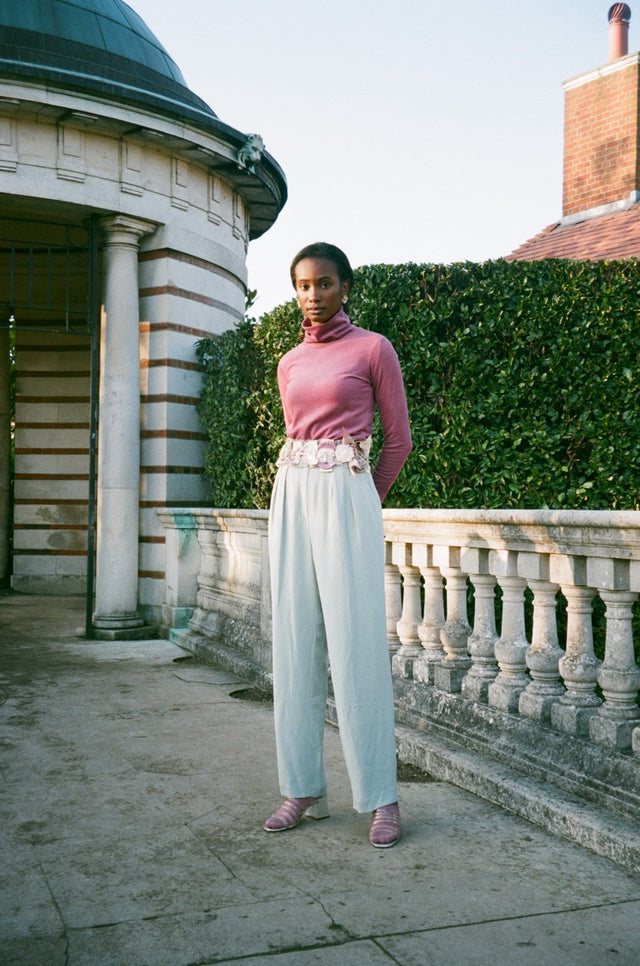 Vintage Pastel Blue Silk Trousers