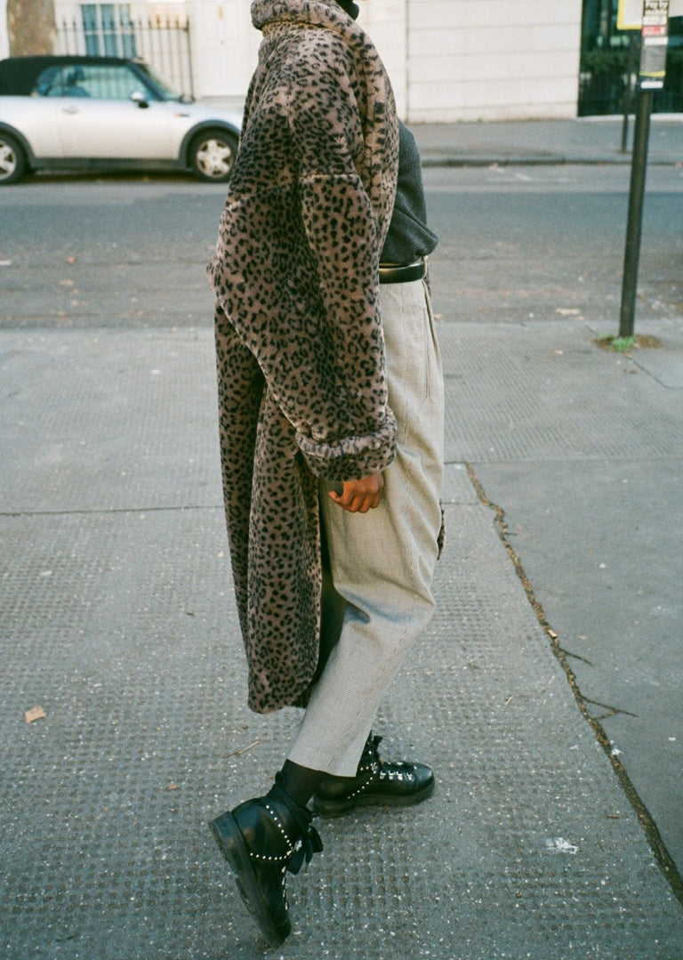 Vintage Leopard Grey Faux Fur Coat