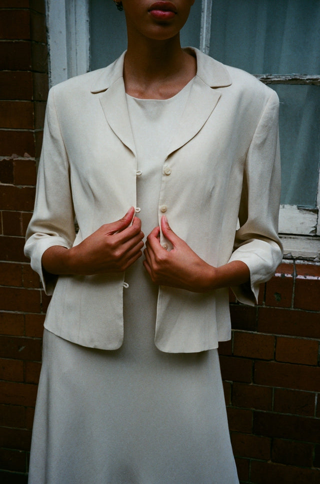 Vintage Silk Ivory Cream Dress Suit