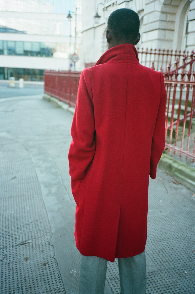 Vintage Perry Ellis Red Wool Coat