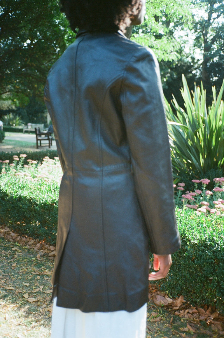 Vintage Dark Brown Leather Trench