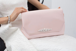 Blush Clutch with YSL Brooch