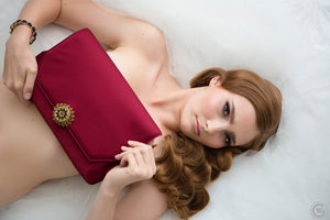 Burgundy Clutch with Vintage Brooch