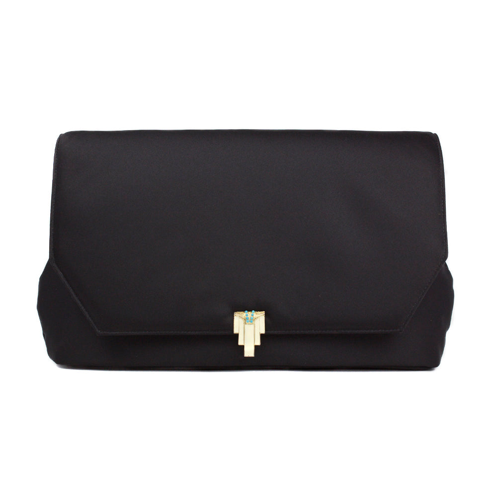 Black Clutch with Vintage Piece