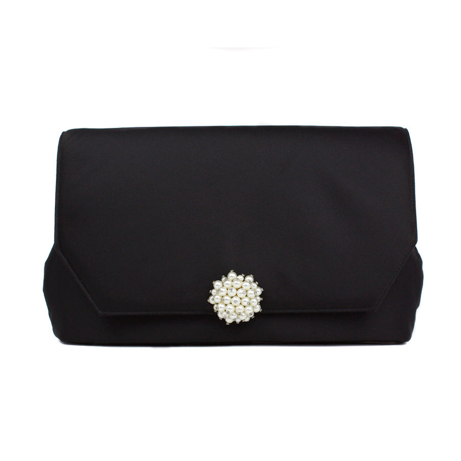 Black Clutch with Vintage Pearl Cluster