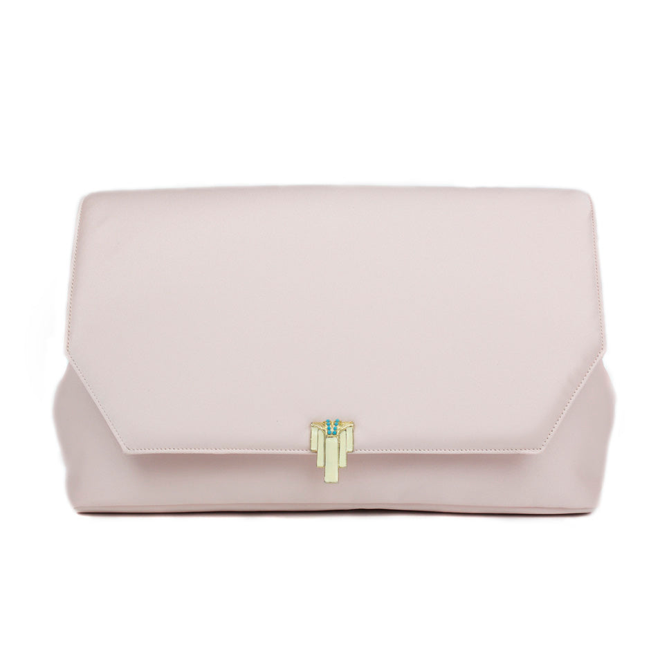 Blush Clutch with Vintage Piece