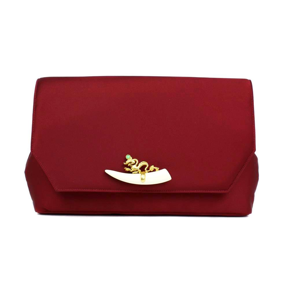 Burgundy Clutch with Vintage Dragon