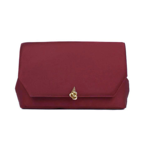 Burgundy Clutch with Rose