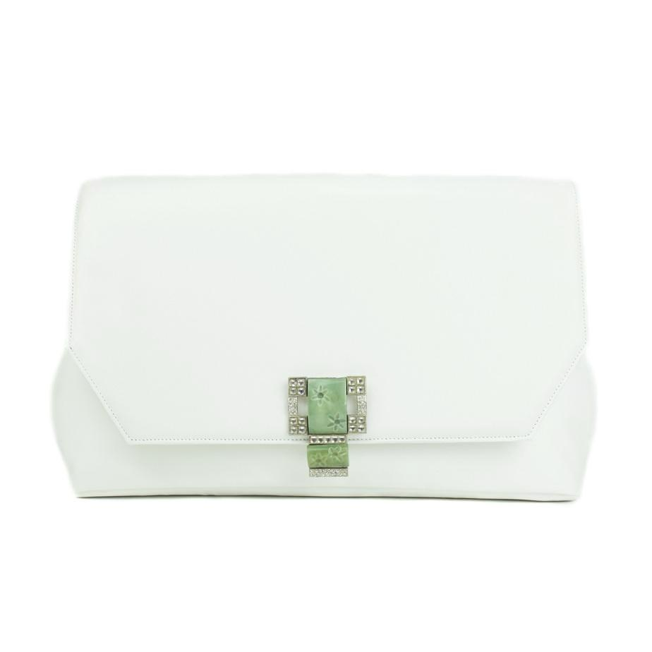 Ivory Clutch with Vintage Buckle