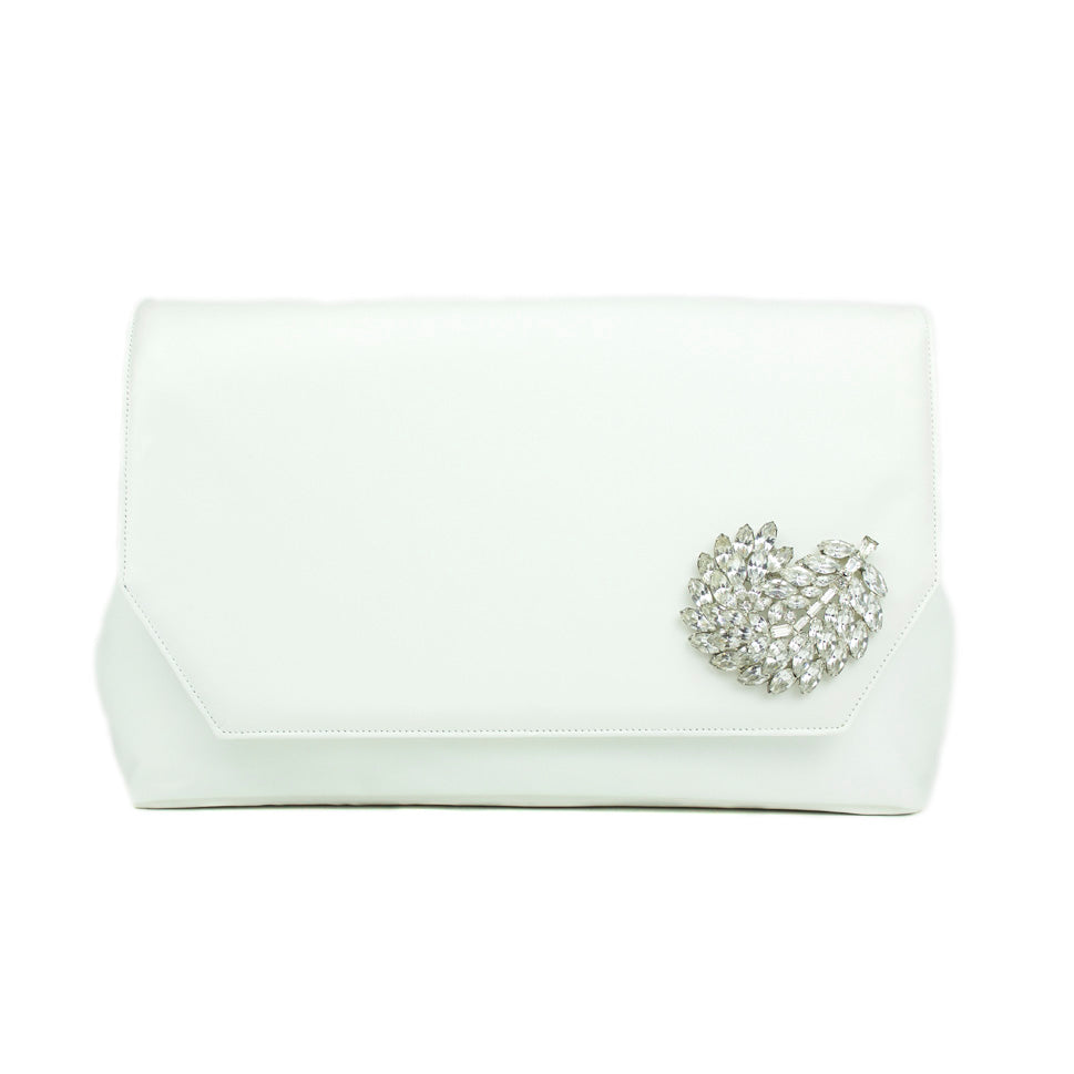 Ivory Clutch with Leaf Crystal