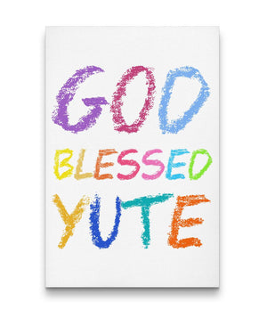 GOD BLESSED YUTE CANVAS ART - KIDS (WHITE) - Rice & Tees