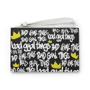 BAD GYAL TINGS Clutch Bag (Black and White)