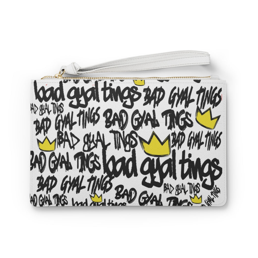 BAD GYAL TINGS Clutch Bag (WHITE AND BLACK)