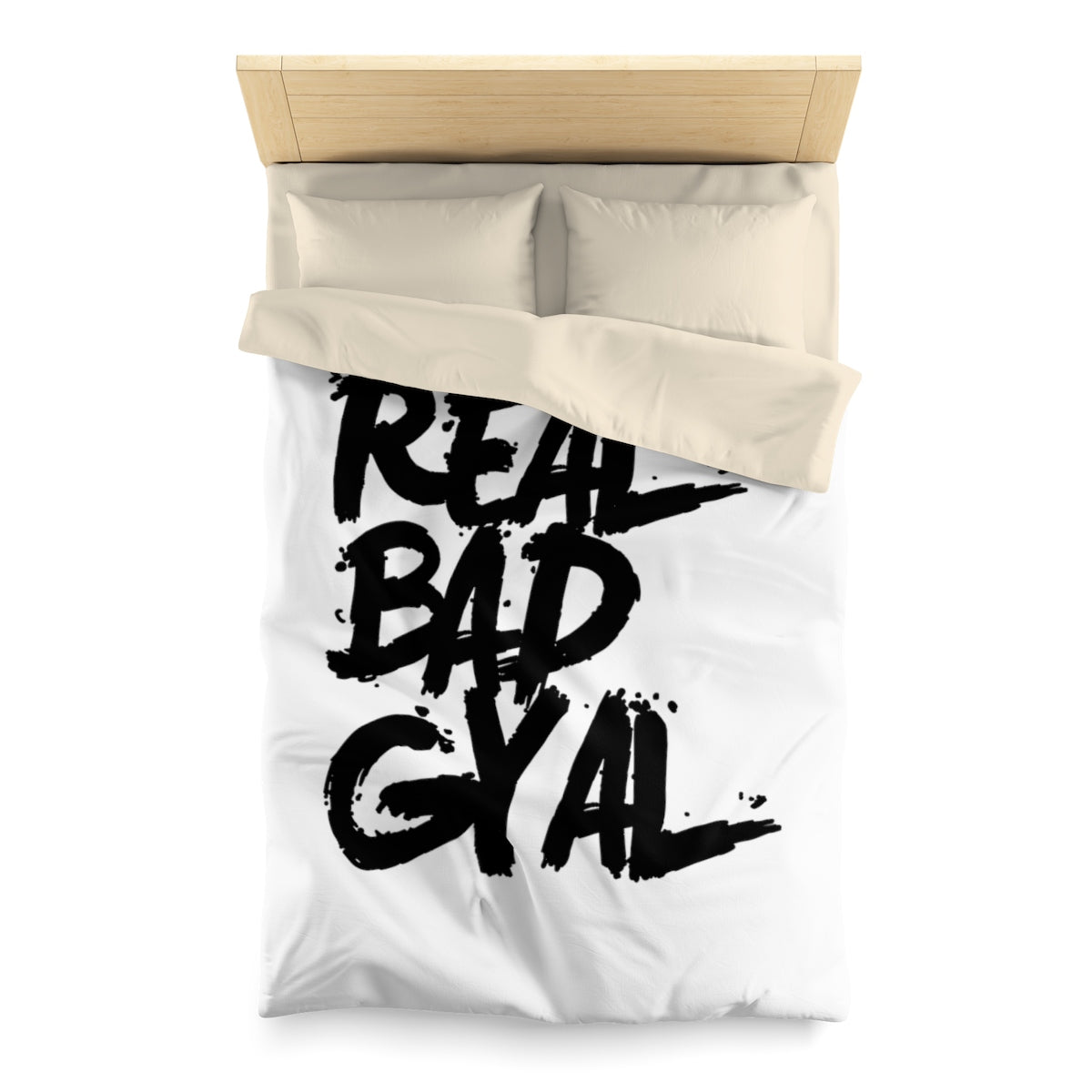 REAL BAD GYAL Microfiber Duvet Cover BLACK FONT - Rice & Tees