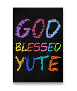 GOD BLESSED YUTE CANVAS ART -KIDS (BLACK) - Rice & Tees