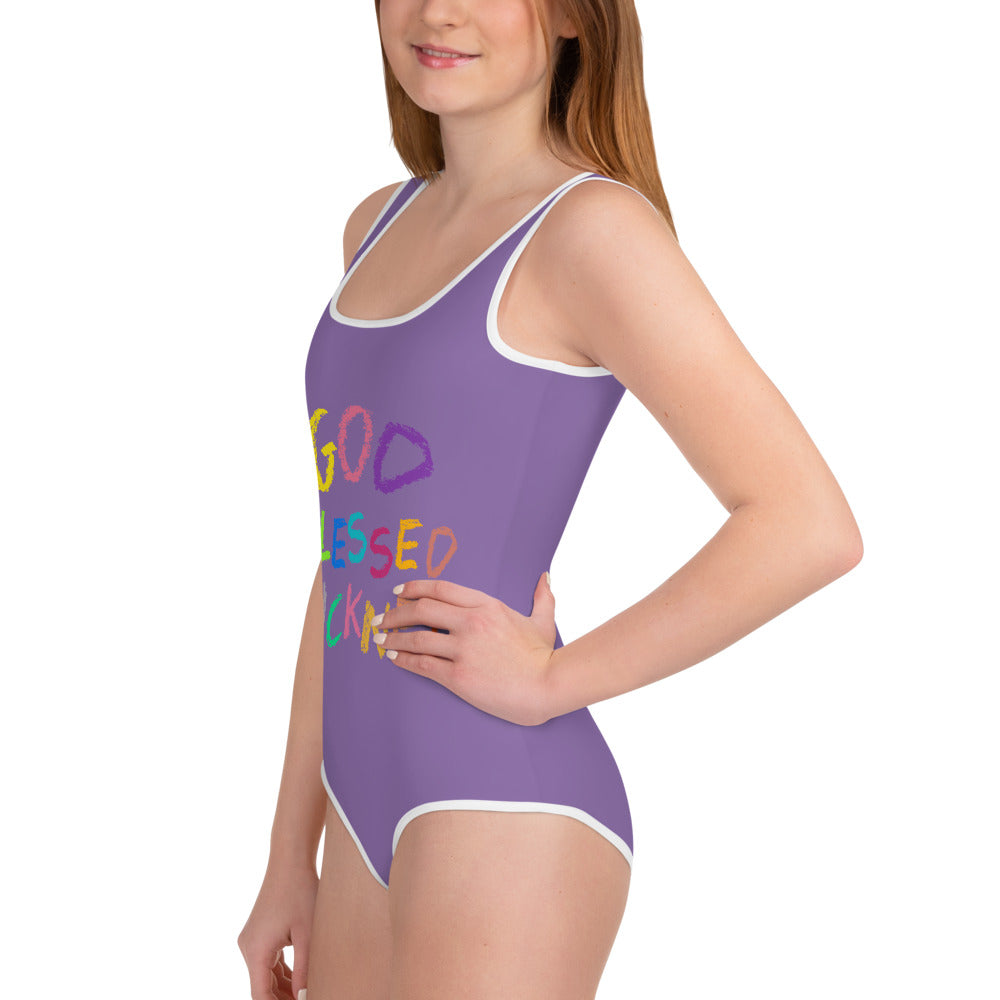 GOD BLESSED PICKNEY  Youth Swimsuit - PURPLE - Rice & Tees