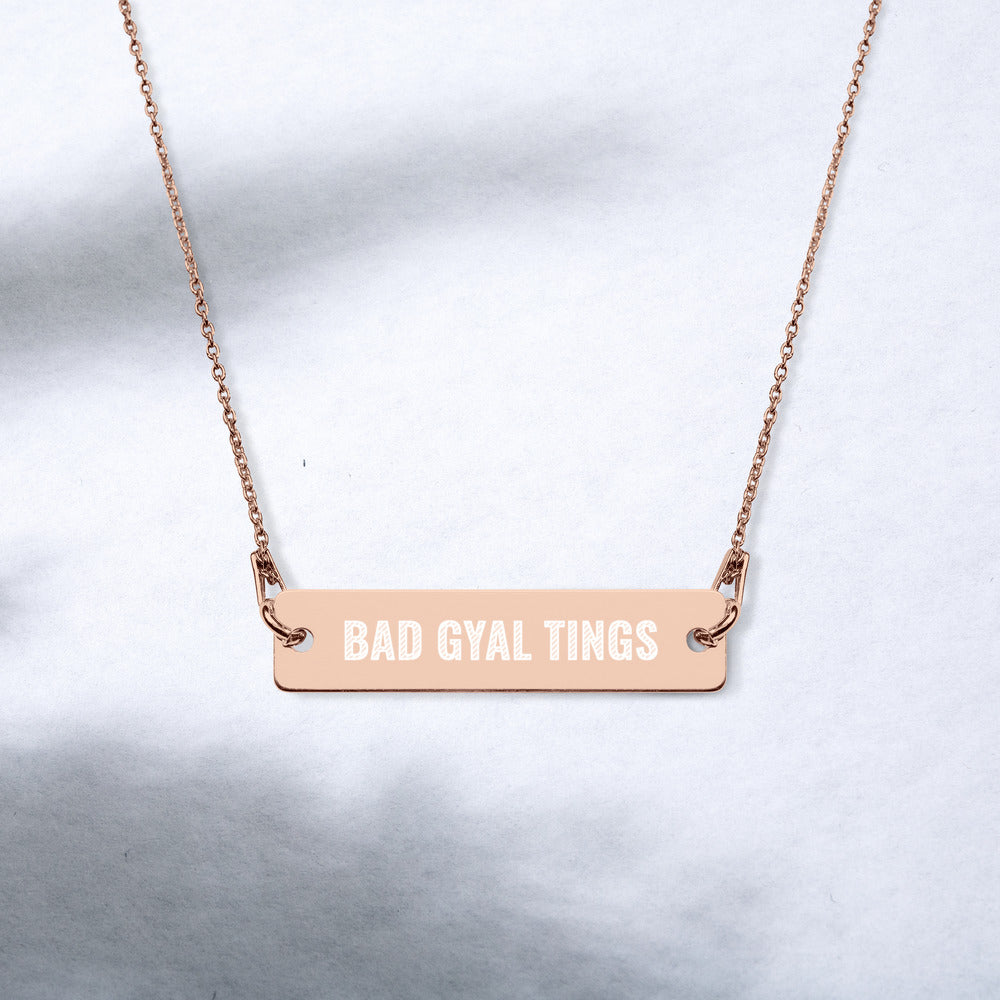 BAD GYAL TINGS Engraved Silver Bar Chain Necklace