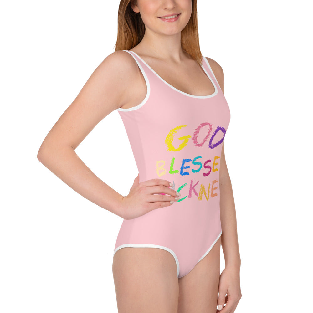 GOD BLESSED PICKNEY All-Over Print Youth Swimsuit -PINK - Rice & Tees