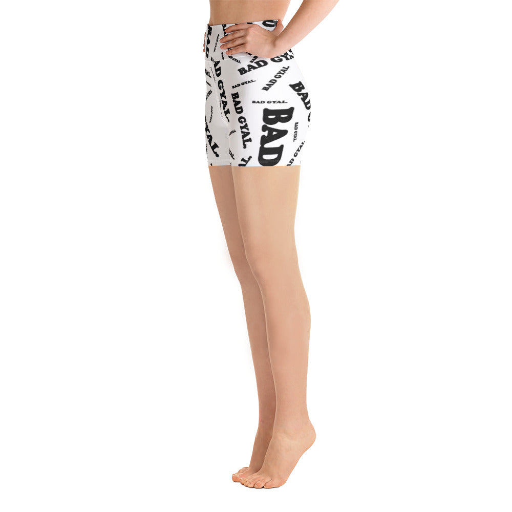 BAD GYAL ALL OVER Yoga Shorts WHITE - Rice & Tees