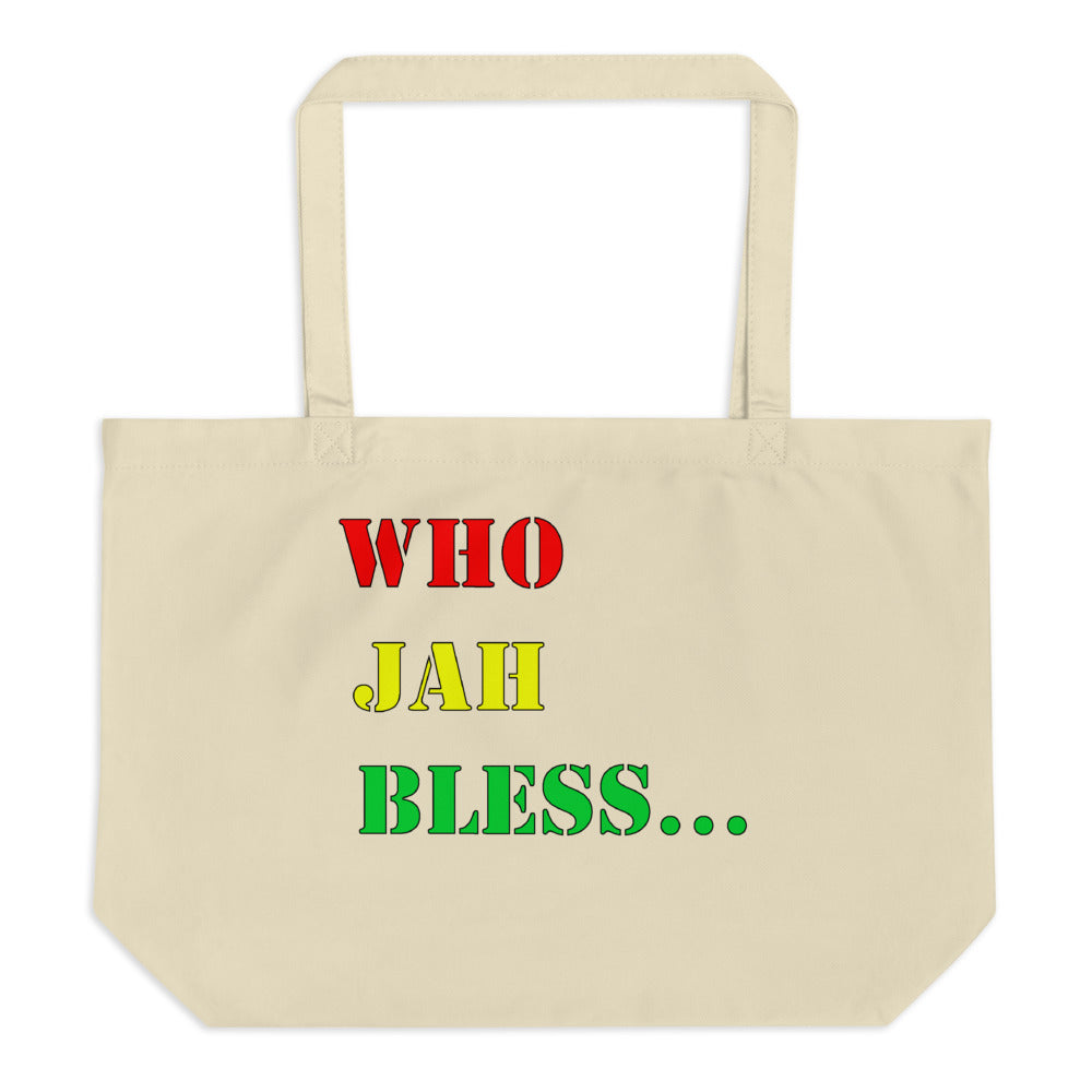WHO JAH BLESS... Large organic tote bag (RASTA COLORS)