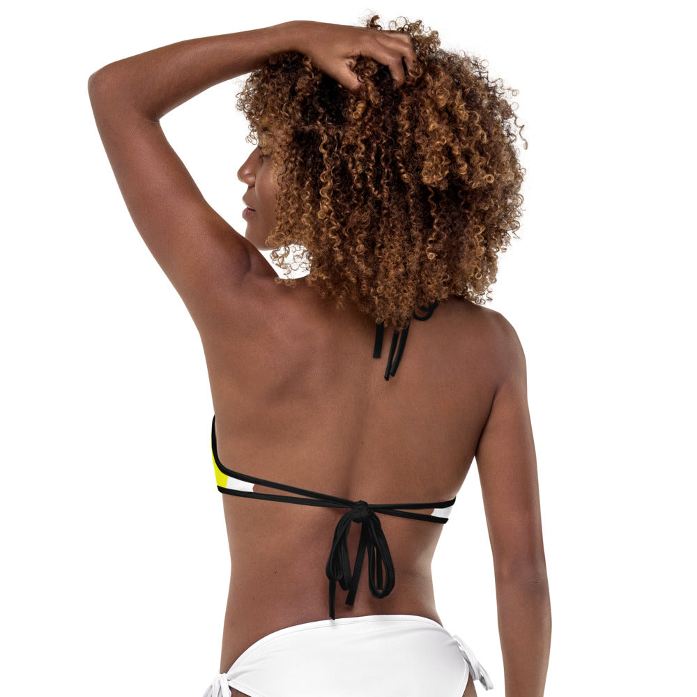 BAD GYAL HAND DRAWN Bikini Top (BLACK & YELLOW)