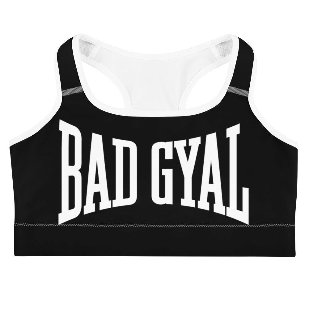 BAD GYAL NUH TEK BADUP Sports bra BLACK