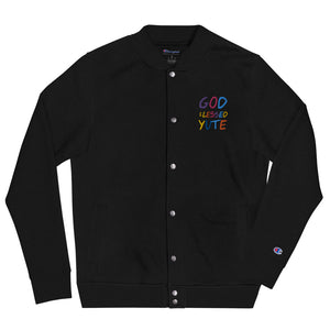 GOD BLESSED YUTE Embroidered Champion Bomber Jacket