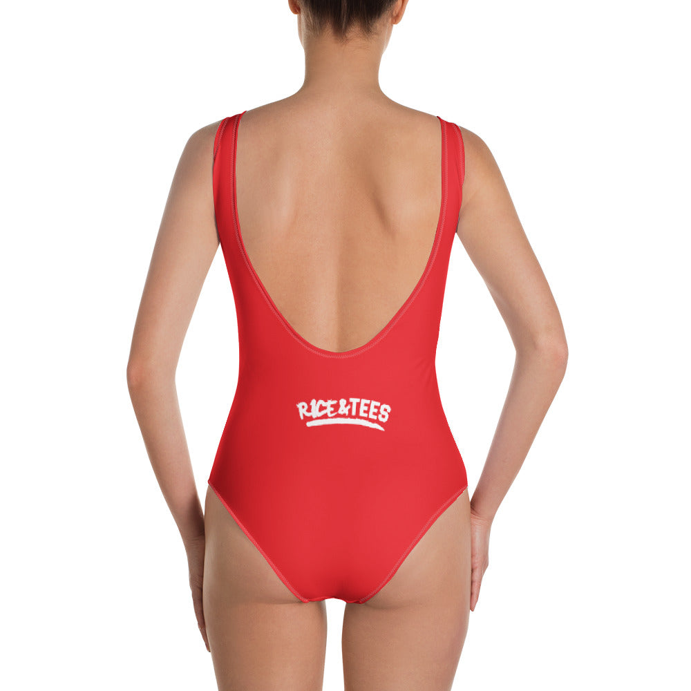 BAD GYAL TINGS One-Piece Swimsuit -RED - Rice & Tees