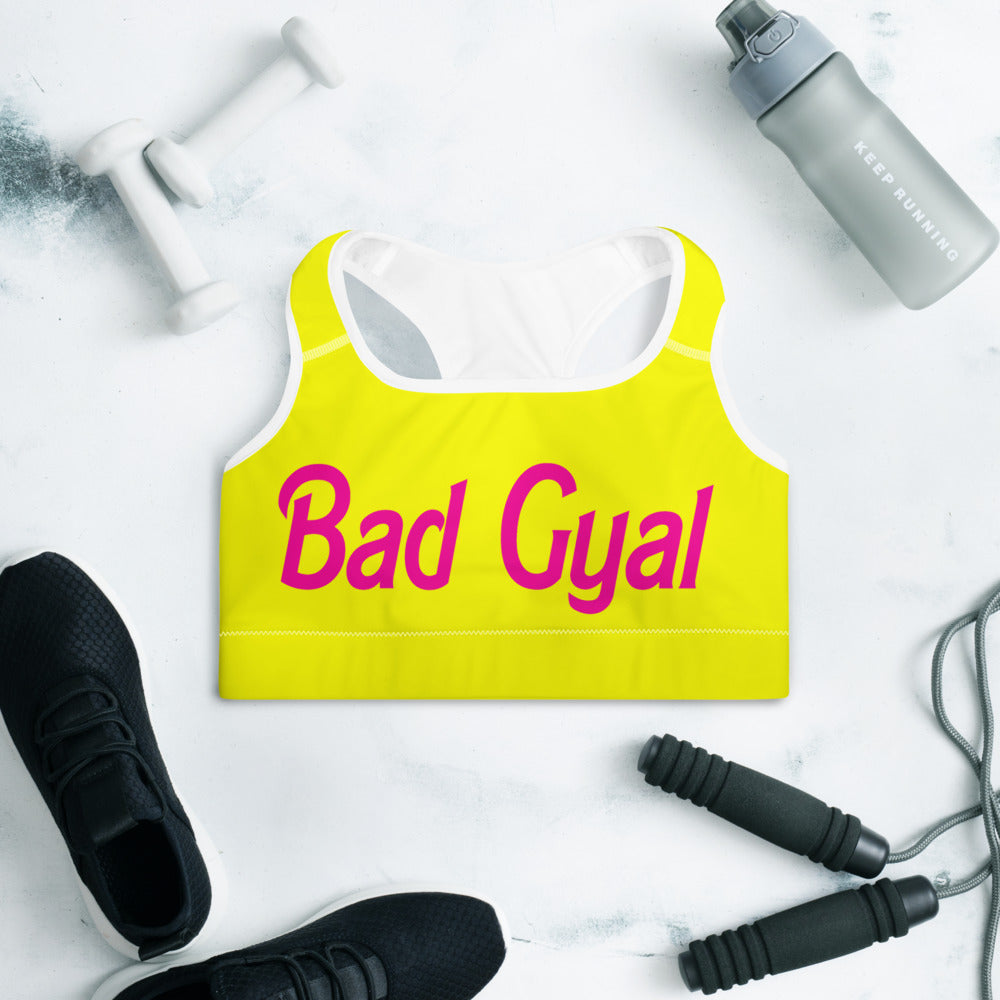"Bad Gyal ""Dolly Baby' Padded Sports Bra - Yellow"