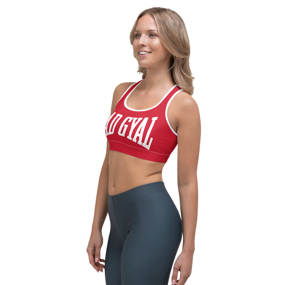 BAD GYAL NUH TEK BAD UP Sports bra (RED)