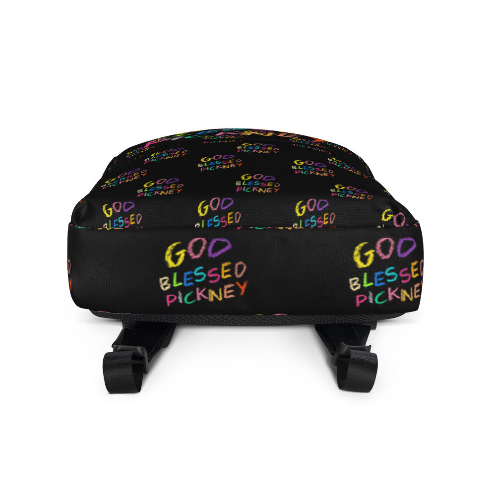 GOD BLESSED PICKNEY (ALL OVER) Backpack - BLACK - Rice & Tees
