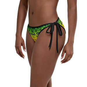 Red Gold & Green BAD GYAL TINGS REVERSIBLE Bikini Bottom W/BLACK FONT